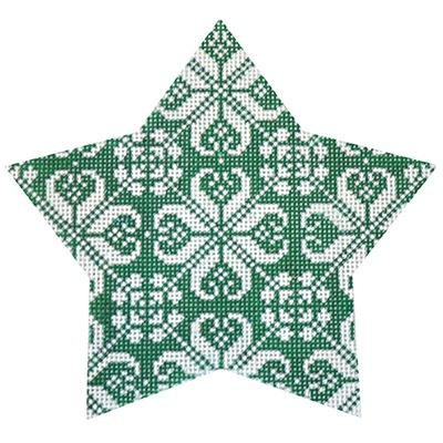 Green Nordic Star All-Over Painted Canvas Kirk & Bradley