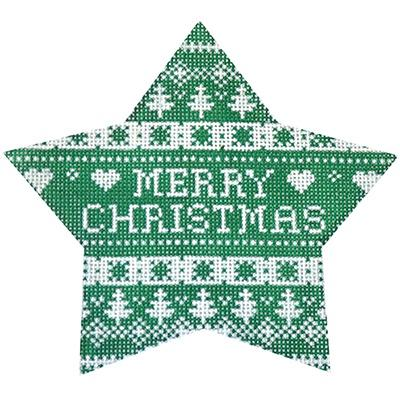 Green Nordic Star Merry Christmas Painted Canvas Kirk & Bradley