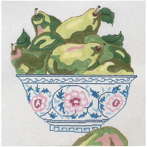 Green Pears in Blue Bowl Painted Canvas Jean Smith
