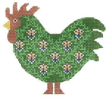 Green Rooster Painted Canvas Cooper Oaks Design