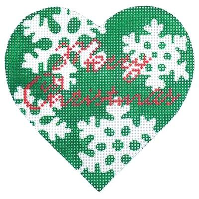 Green Snowflake Heart Painted Canvas Kirk & Bradley