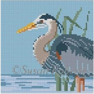 Grey Heron Painted Canvas Susan Roberts Needlepoint Designs, Inc.