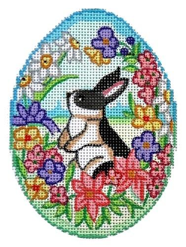 Grey / White Bunny Egg Painted Canvas Alexa Needlepoint Designs