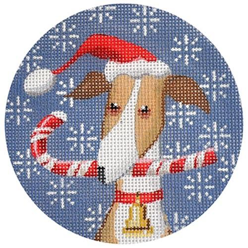 Greyhound Xmas Circle Painted Canvas Kirk & Bradley