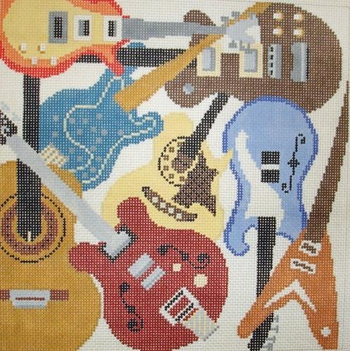 Guitars Painted Canvas Susan Roberts Needlepoint Designs, Inc.