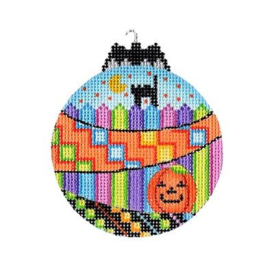 Halloween Bat Bauble - Black Cat & Pumpkin Painted Canvas Burnett & Bradley