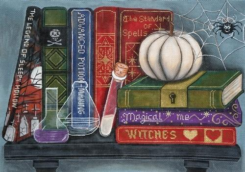 Halloween Bookshelf Painted Canvas Alice Peterson