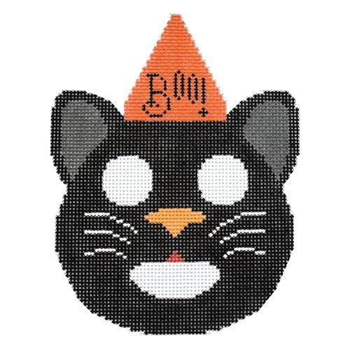 Halloween Bucket Ornament - Cat with Stitch Guide Painted Canvas Brenda Stofft Designs