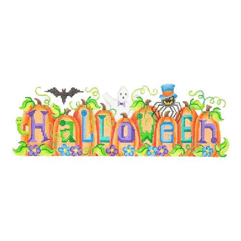 Halloween on Pumpkins with Stitch Guide Painted Canvas Burnett & Bradley