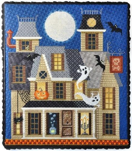 Halloween Series - Haunted House with Stitch Guide Painted Canvas Needlepoint.Com