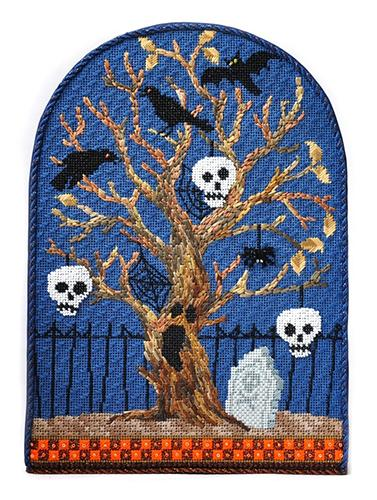 Halloween Series - Spooky Tree - Skeletons with Stitch Guide Painted Canvas Kirk & Bradley