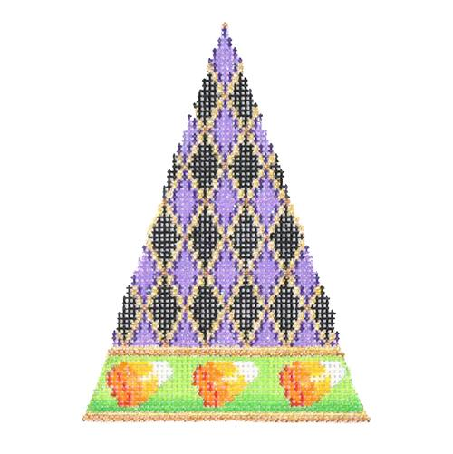 Halloween Triangle - Diamond Pattern with Candy Corn Border Painted Canvas Burnett & Bradley