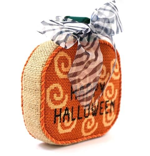 Happy Halloween Pumpkin Painted Canvas Stitch-Its