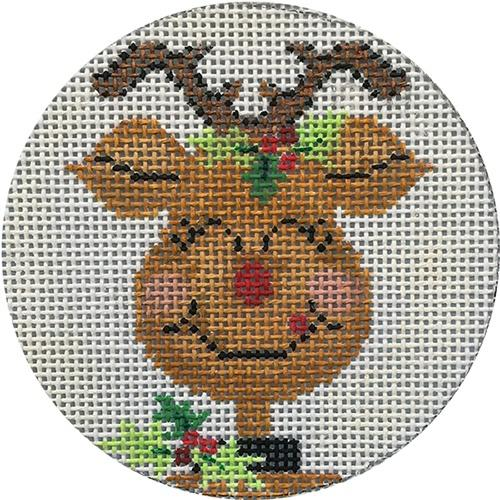 Happy Reindeer Ornament Painted Canvas Alice Peterson