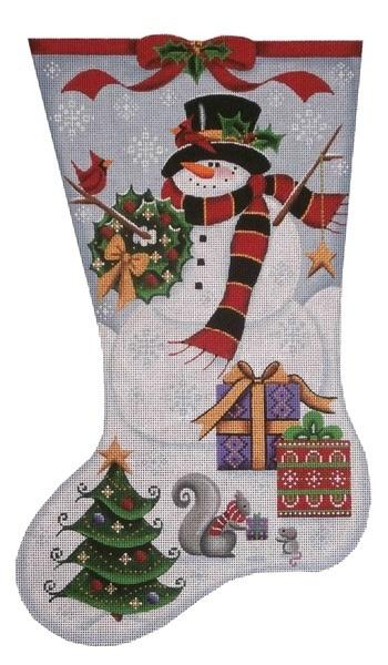 Happy Snowman Stocking on 18 Painted Canvas Rebecca Wood Designs