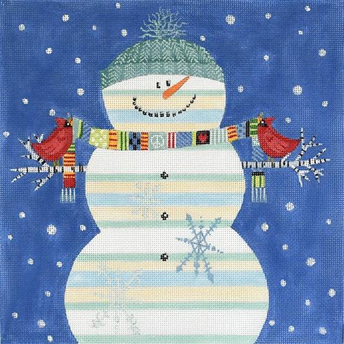 Happy Snowman (VNG) Painted Canvas Vallerie Needlepoint Gallery