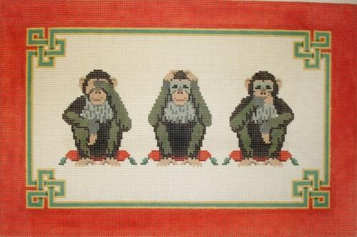 Hear, See, Speak No Evil Painted Canvas Susan Roberts Needlepoint Designs, Inc.