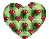 Hearts on Lime Mini Heart Painted Canvas Associated Talents