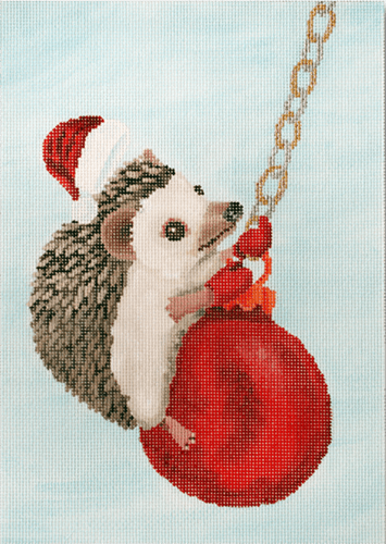 Hedgehog Swinging on Ornament Painted Canvas Scott Church Creative
