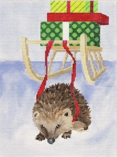 Hedgehog with Packages Painted Canvas Scott Church Creative