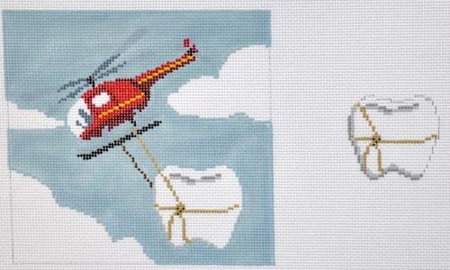 Helicopter Tooth Fairy Pillow Painted Canvas Susan Roberts Needlepoint Designs, Inc.