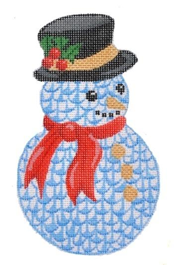 Herend Style Snowman Christmas Ornament Painted Canvas Kate Dickerson Needlepoint Collections