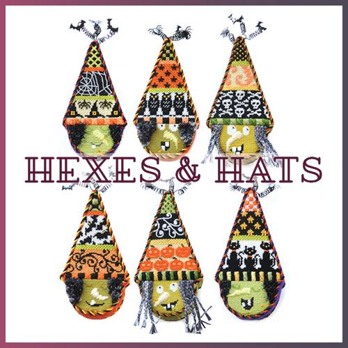 Hexes and Hats Kit of 6 Online Needlepoint Class Online Course Needlepoint.Com