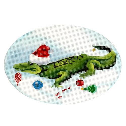 Holiday Alligator Painted Canvas Scott Church Creative