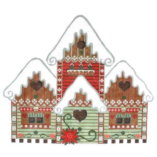 Holiday Bird House Painted Canvas Danji Designs