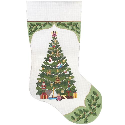 Holly, Toy Tree Insert Stocking Painted Canvas Susan Roberts Needlepoint Designs Inc.