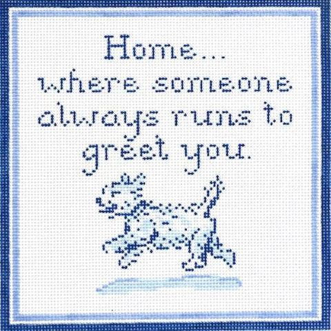 Home...Westie Painted Canvas The Plum Stitchery