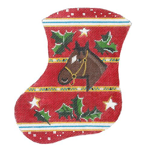 Horse and Holly Mini Stocking Painted Canvas The Meredith Collection