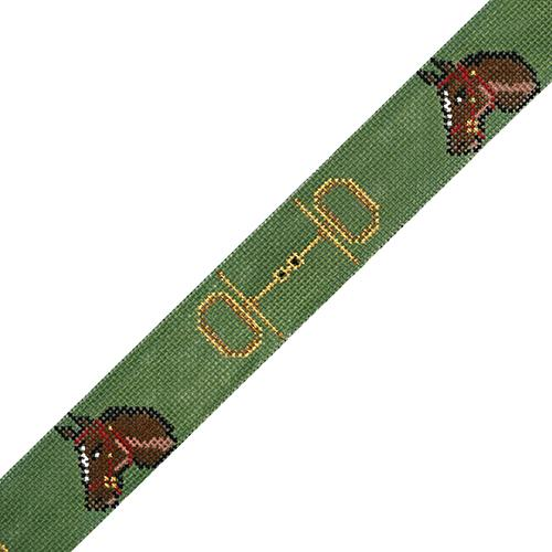 Horse Head w/ Bits Belt - Green Painted Canvas The Meredith Collection