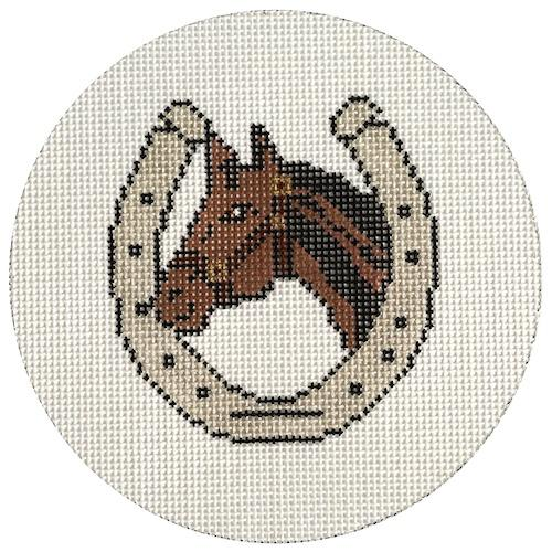 Horse Shoe with Horse Head Painted Canvas The Meredith Collection