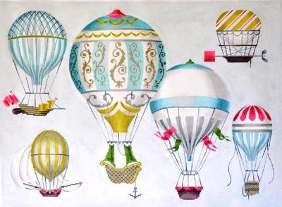Hot Air Balloons - Multi Blue Painted Canvas Kirk & Bradley
