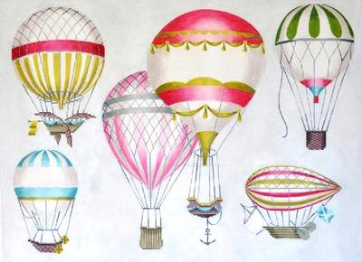 Hot Air Balloons - Multi Pink Painted Canvas Kirk & Bradley