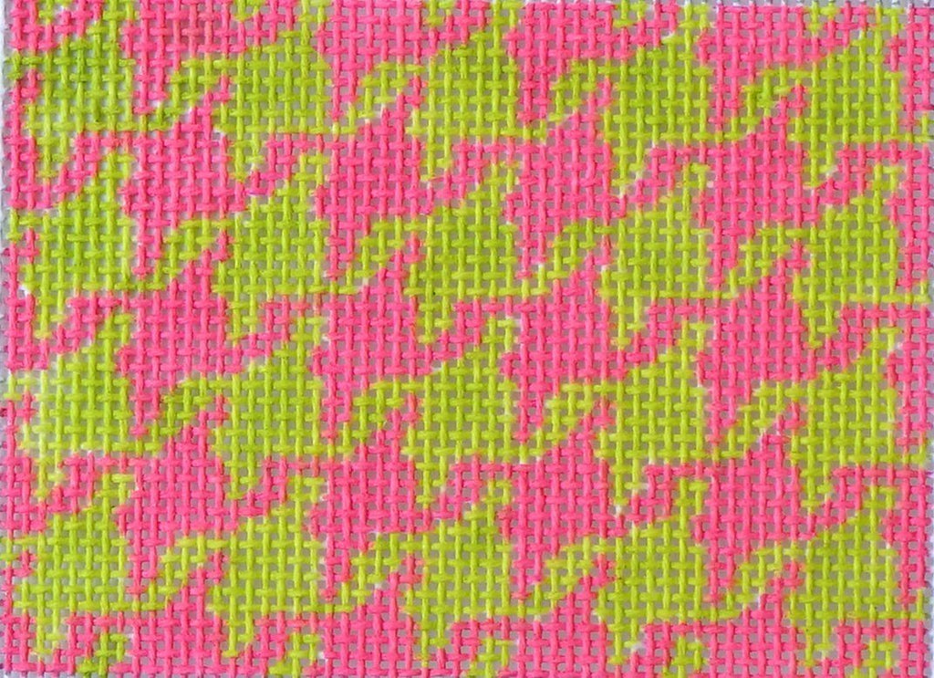 Houndstooth - Hot Pink & Lime Painted Canvas Kate Dickerson Needlepoint Collections