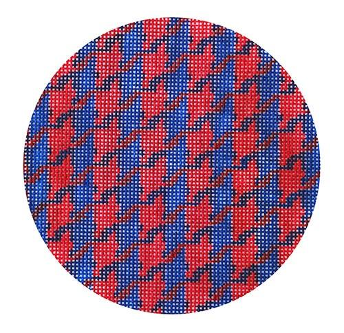 Houndstooth - Marine Blue & Red Painted Canvas Kate Dickerson Needlepoint Collections