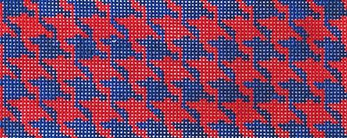 Houndstooth - Red & Navy Painted Canvas Kate Dickerson Needlepoint Collections