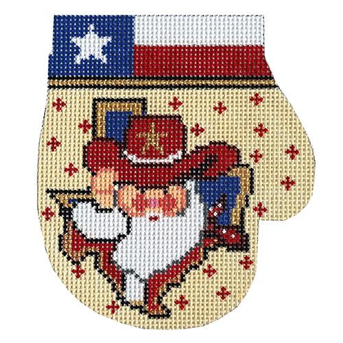 Howdy All Texas Santa Mitten Painted Canvas The Meredith Collection
