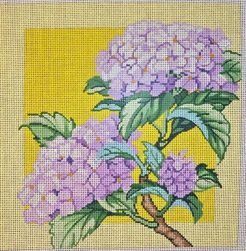 Hydrangea on Yellow Painted Canvas Lee's Needle Art Inc.