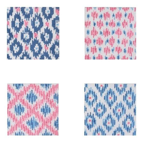 Ikat Coasters Painted Canvas Kate Dickerson Needlepoint Collections