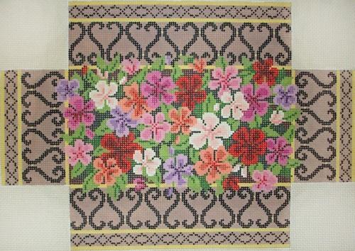 Impatiens in Brass and Iron Grillwork Brick Painted Canvas Susan Roberts Needlepoint Designs, Inc.