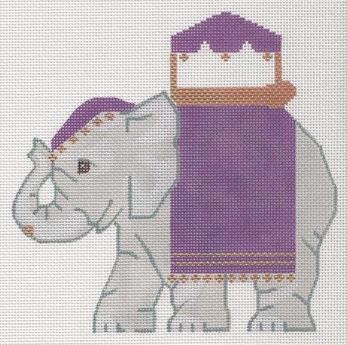 Indian Elephant Painted Canvas Labors of Love Needlepoint