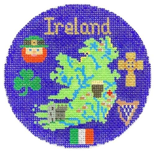 Ireland Ornament Painted Canvas Silver Needle
