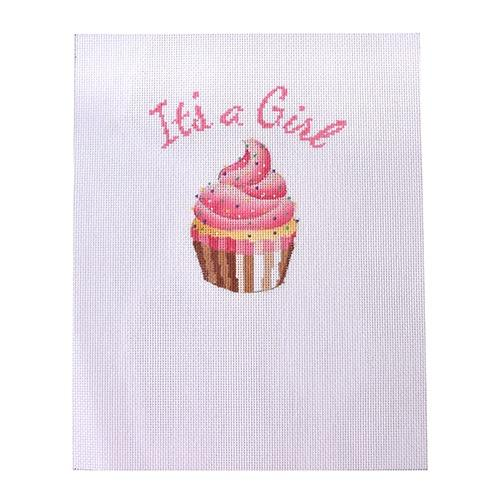 It's a Girl Cupcake Sampler Painted Canvas Kirk & Bradley