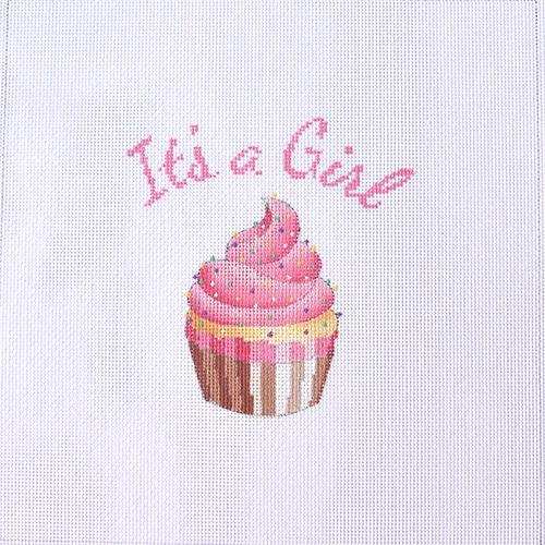 It's a Girl Cupcake Stand-Up Painted Canvas Kirk & Bradley