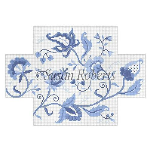 Jacobean Crewel Flower - Blues Painted Canvas Susan Roberts Needlepoint Designs Inc.