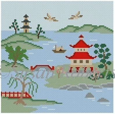Japanese Inlet, Colors Painted Canvas Susan Roberts Needlepoint Designs, Inc.