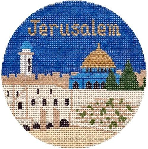 Jerusalem Ornament Painted Canvas Silver Needle